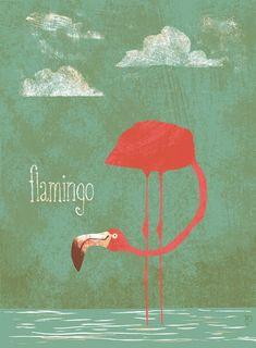 Flamingo illustration by Matt Dawson Flamingo Art, Pink Flamingos, Flamingo Photo, Flamingo Illustration, Illustration Art, Tout Rose, Pink Bird, Mundo Animal, Illustrations