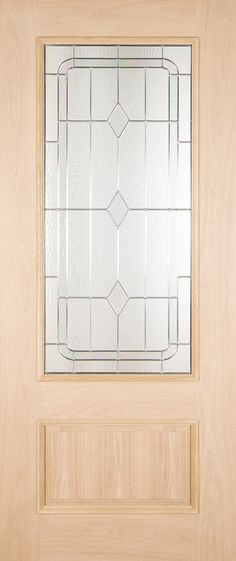 The Chatsworth Oak External Door comes with ornate leaded glass triple glazing with a low midrail and a single raised fielded panel. External Oak Doors, Leaded Glass, Contemporary, Furniture, Kitchen, Home Decor, Cooking, Decoration Home, Room Decor