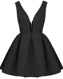 Black V Neck Backless Midriff Flare Dress