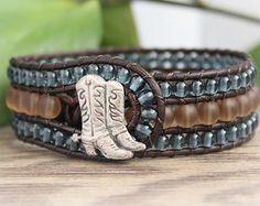 Western Beaded Leather Cuff, 3 Row, Denim Blue, Brown, Cowgirl, Boho Beaded Bracelet, Leather Wrap Bracelet, Country Boho