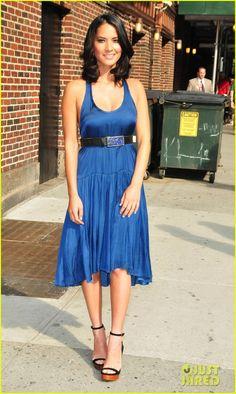 Olivia Munn Fist Bumps David Letterman