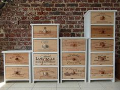 4 Progressively-Taller Wine Crate Chest of Drawers Wine Bottle Chandelier, Warehouse Design, Wooden Crates, Refurbished Furniture, Wood Boxes, Diy And Crafts, Diy Projects, Crafty, Homemade Shelves