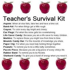 I think I will do something like this for the new teacher that will be taking over my classroom this year...Teacher's Survival Kit Gift