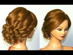 Bridal Curly Updo Hairstyles For Medium Hair. Прическа на свадьбу, прическа на выпускной. - YouTube