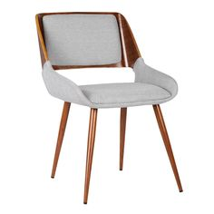 Panda Mid-Century Dining Chair Walnut Finish and Gray Fabric Armen Living ARMEN-LCPNSIWAGRAY