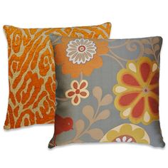 Orange Silver Pillow Cover -- with  Marigold, Red, Brown NEW!! Floral 18x18 or 20x20 or 22x22 or Custom Sizes