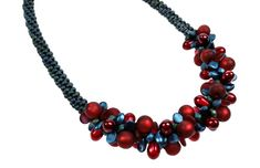 Complete Kit - Kumihimo 7 Strand Merlot Polaris Necklace by SulisDesigns on Etsy Gel Glue, Braided Necklace, Teardrop Necklace, Burgundy Color, Handcrafted Jewelry, Seed Beads, Swarovski Crystals, Glass Beads, Kit