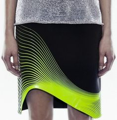 leManoosh yellow-greenish lines on black futuristic skirt