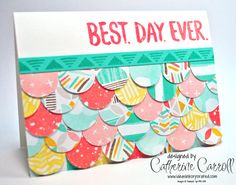 Scrap card- Best Year Ever DSP used to make a scale maille effect with the coordinating Best Day Ever stamp set, both available free during Sale-a-Bration from Stampin' Up! Cool Cards, Diy Cards, Scrapbook Cards, Scrapbooking, Card Making Inspiration, Card Sketches, Copics, Paper Cards, Creative Cards