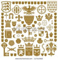HERALDRY Symbols and decorations by artform, via Shutterstock