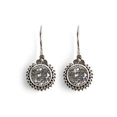 """Fire and Ice Earrings - Gleaming white topaz, faceted for fiery brilliance, is set in an intricately detailed setting of antiqued sterling silver. French wire with clip. 1""""L. Made in Bali. https://www.morinda.com/3764125/en-us/shop/3795999#product&pid=3796196"""