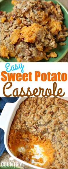 Easy Sweet Potato Casserole recipe from The Country Cook. So simple and my favorite recipe for the holidays, Thanksgiving & Christmas. Best Sweet Potato Casserole, Simple Sweet Potato Recipes, Sweet Potato Cassarole, Canned Sweet Potato Recipes, Canning Sweet Potatoes, Cook Potatoes, Country Cooking, Food Dishes, Side Dishes