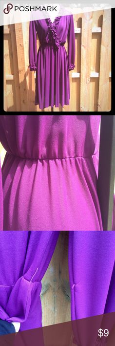 ☂Ruffle Vintage Plum Dress☂ Good vintage condition with a couple snags, see pics.  Plum-colored polyester, stretchy with elastic waistband. Ruffle, cross front with hidden extra fixing at the neckline.  Semi-sheer.  String for thicker fabric string belt. Vintage Dresses