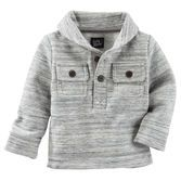 Featuring soft, space-dyed fleece, a shawl collar and two flap pockets, this pullover is a crisp and cozy piece for winter.<br>