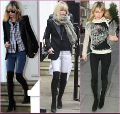 Kate Moss rocking tall black boots