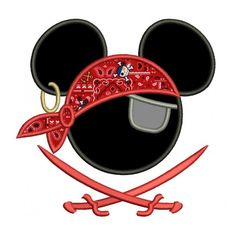 Looks like Pirate Mickey Mouse Ears Pirate Applique with two swords Machine Embroidery Digitized Pattern- Instant Download - 4x4 ,5x7,6x10