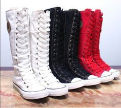 Women Girl Shoes Sneaker Punk EMO Lace UP ZIP Boot Knee High Flat Tall Boot | eBay