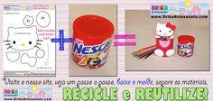 Molde da Hello Kitty para lata de Nescau reciclada • Drika Artesanato - O seu Blog de Artesanato!