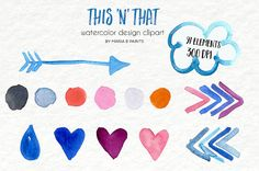 Watercolor Clip Art  This and that Bits and by MariaBPaintsClipArt