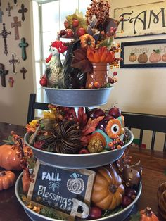 Gorgeously Crisp Oxidized Rustic Fall Home decor ideas - Hike n Dip, Rustic Fall Decor, Fall Home Decor, Autumn Home, Galvanized Tiered Tray, Fall Table Centerpieces, Adornos Halloween, Thanksgiving Decorations, Autumn Decorations, Seasonal Decor