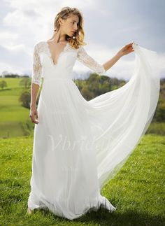Wedding Dresses - $159.42 - A-Line/Princess V-neck Sweep Train Tulle Wedding Dress With Lace (0025120351)