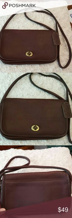 Coach Vintage Brown Leather  Crossbody Bag Coach Vintage Brown Turnlock Leather Crossbody Bag, Creed 0053, zip pocket inside, Tag included, Some wear on gold nob see pic, Good condition Coach  Bags Crossbody Bags