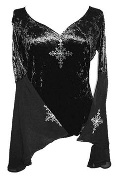 Black Velvet Organza Sleeve top