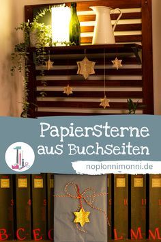 Tacker, Ficus, Advent Calendar, German, Holiday Decor, Home Decor, Drawing Stars, Carving Pumpkins, Book Pages