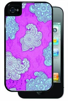Blue and Fuschia Henna - Black iPhone 4, 4s Dual Protective Durable Case by Inked Cases, http://www.amazon.com/dp/B00FAGGVHA/ref=cm_sw_r_pi_dp_o3lvsb1AW27TJ
