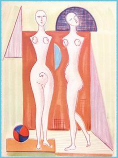 Mario Tozzi: 1978 Le Due Sorelle (litografia 21 colori 50x70 prodotta da Studio Tozzi).