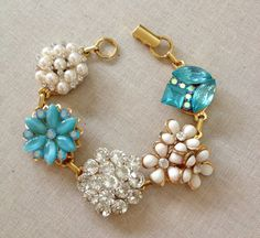Vintage earring bracelets teal turquoise by ChicMaddiesBoutique