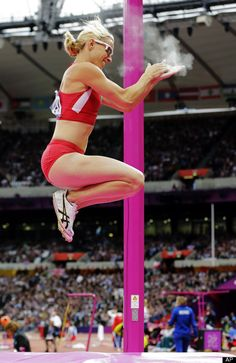United States' Becky Holliday reacts after clearing the bar in the women's pole vault final during the athletics in the Olympic Stadium at the 2012 Summer Olympics, London, Monday, Aug. 6, 2012.