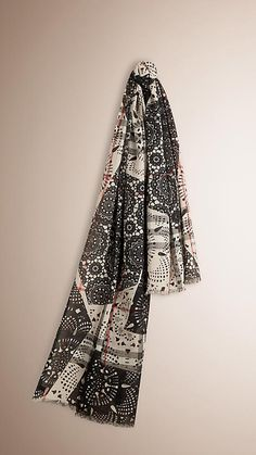 72518ffb88627 Stone black Patchwork Lace Print Check Wool Silk Scarf Stone black - Image  1. Burberry United States