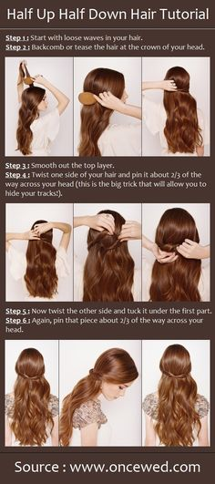simple and cute x Pretty Simple Wedding Hairstyles Tutorial for Long Hair: Ribbon Half Updo Wedding Hairstyles Tutorial, Wedding Hairstyles For Long Hair, Down Hairstyles, Pretty Hairstyles, Easy Hairstyles, Straight Hairstyles, Bridal Hairstyles, Hairstyle Wedding, Dress Hairstyles