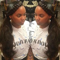 Goddess braid and ponytail Ponytail Styles, Ponytail Hairstyles, Braid Styles, Weave Hairstyles, Weave Ponytail, Halo Braid With Weave, Hairstyles Videos, Updo Hairstyle, Prom Hairstyles