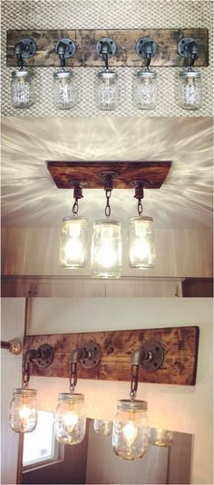 Kitchen Lighting Ideas DIY Mason Jar Light Fixtures - the basis for my skokie scone idea (no chains though) - Do you want to transform your bathroom into a rustic country paradise? This list of gorgeous farmhouse bathroom design ideas can help. Mason Jar Light Fixture, Diy Mason Jar Lights, Mason Jar Lighting, Mason Jar Diy, Rustic Light Fixtures, Mason Jar Chandelier, Mason Jar Bathroom, Diy Pipe Light Fixture, Mason Jar Kitchen Decor