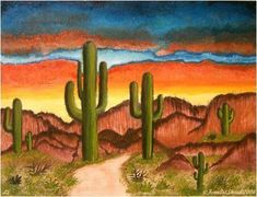 Southwest Art … Southwest Scene (Sold) – by Lar Shackelford of FOTM Cactus … Oil Painting Abstract, Watercolor Paintings, Rubens Paintings, Southwestern Art, Desert Art, Cactus Art, Cactus Decor, Landscape Quilts, Mexican Art