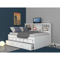 Birch Lane™ Heritage Letizia Mate's & Captain's Bed with Trundle, Drawers and Bookcase Size: Full, Bed Frame Color: White Bed Frame With Drawers, Bunk Beds With Drawers, Bed Frame With Storage, Bed Storage, Queen Beds With Storage, Full Bed Frame, Trundle Bed With Storage, Teen Room Storage, Diy Storage Headboard