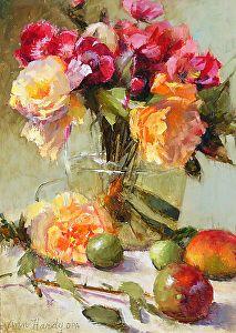 Pivoines en vase clair par Ann Hardy Oil ~ 24 x 18Pivoines en vase clair Huile sur toile de lin belge à bord 24 x 18 Vendu