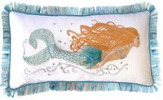Joss & Main-Bring a coastal pop of style to your sofa with this charming cotton pillow, showcasing a mermaid motif and applique details. Mermaid Home Decor, Beach House Decor, Boat Decor, Large Pillows, Decorative Throw Pillows, Decorative Items, Mermaid Pillow, Mermaid Bedroom, Mermaid Nursery
