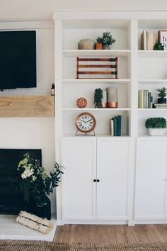 Diy ikea billy bookcase built ins living room interior, living room built i Living Room Built Ins, Living Room Interior, Home Living Room, Living Room Designs, Bookcase In Living Room, Built In Cupboards Living Room, Ikea Living Room Furniture, Modern Furniture, Bedroom Built Ins