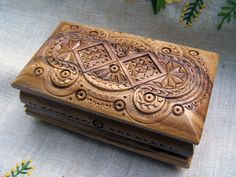 jewelry box wooden box ring box carved wood box by HappyFlying, $35.00
