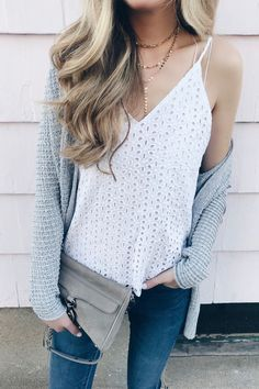 Spring trends - eyelet cami under cozy cardigan on pinteresting plans fashion blog. #springoutfit