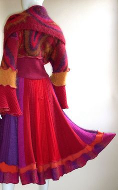 Magenta, Red and Purple Sweater Coat, Marilyn Style with Cowl Collar, Size Medium (10-12) by brendaabdullah, via Flickr