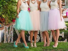 heels matched with tulle skirt, friends together forever
