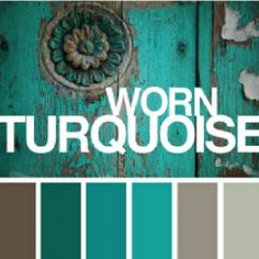 Bedroom color scheme - would like the worn turquoise for a headboard colour and possibly the greyish on the right for the walls- maybe a bit more sandy coloured