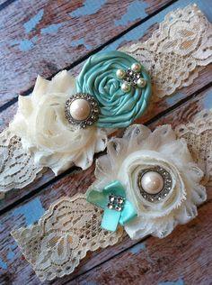 wedding garter / TIFFANY BLUE / bridal  garter/  lace garter / toss garter / Something BLue wedding  garter / vintage inspired lace garter. $25.99, via Etsy.