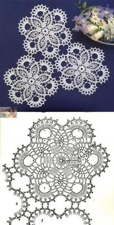 Crochet Ideas With Knitting Patterns - Diy And Crafts Crochet Doily Diagram, Crochet Motif Patterns, Crochet Chart, Crochet Squares, Thread Crochet, Crochet Designs, Knitting Patterns, Crochet Ideas, Crochet Dollies