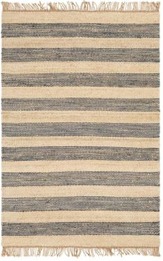 This hand woven jute rug is a perfect flat-weave rug for high traffic areas such as in the kitchen or under a dining table. Alternating stripes add a pop of contrast, while the neutral tone of this natural material blends in with most color palettes Jute Rug, Woven Rug, Rug Texture, Navy Rug, Navy Stripes, Hand Weaving, Area Rugs, Color Palettes, Weave