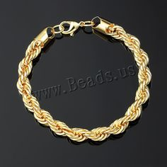 Zinc Alloy Bracelet, gold color plated, rope chain, nickel, lead & cadmium free, 9mm, Length:Approx 9 Inch, 5Strands/Lot,china wholesale jewelry beads